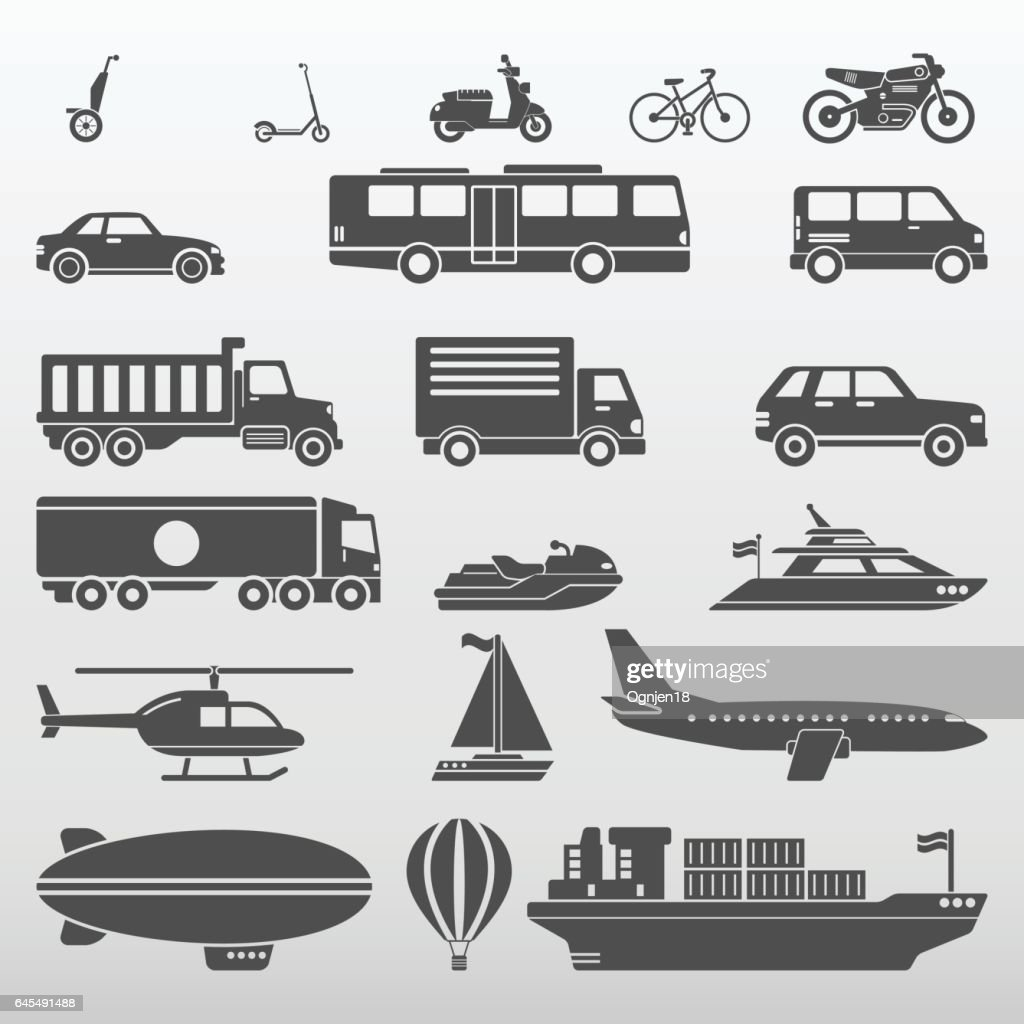 Transport Icons Set Vector Illustration