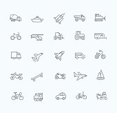 Transport icons, thin line design