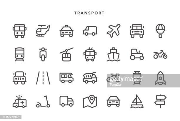 stockillustraties, clipart, cartoons en iconen met transportpictogrammen - onderweg