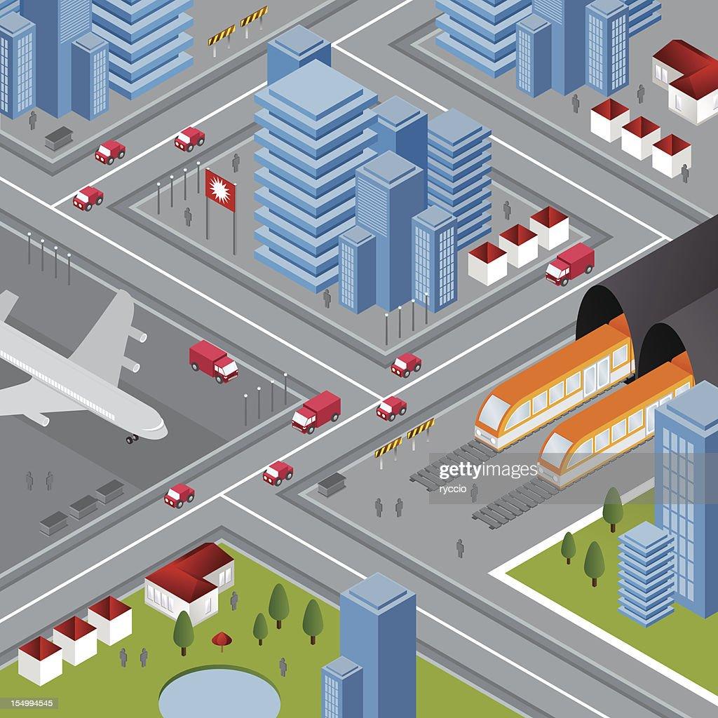 Transport isometric city : stock illustration