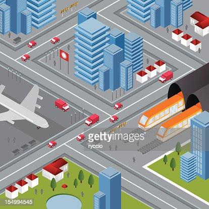 Transport isometric city
