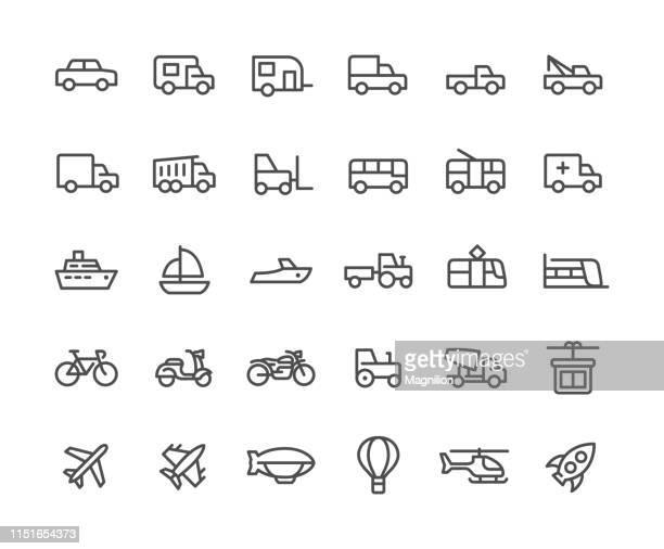 stockillustraties, clipart, cartoons en iconen met transport line iconen set - moped