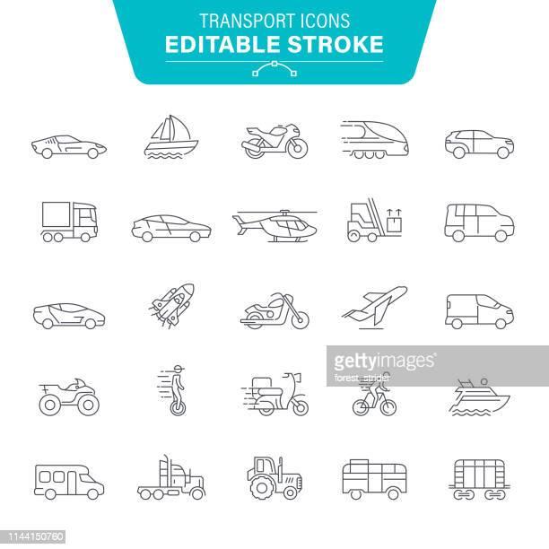 transport line icons - bus stock-grafiken, -clipart, -cartoons und -symbole