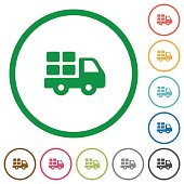 Transport outlined flat icons