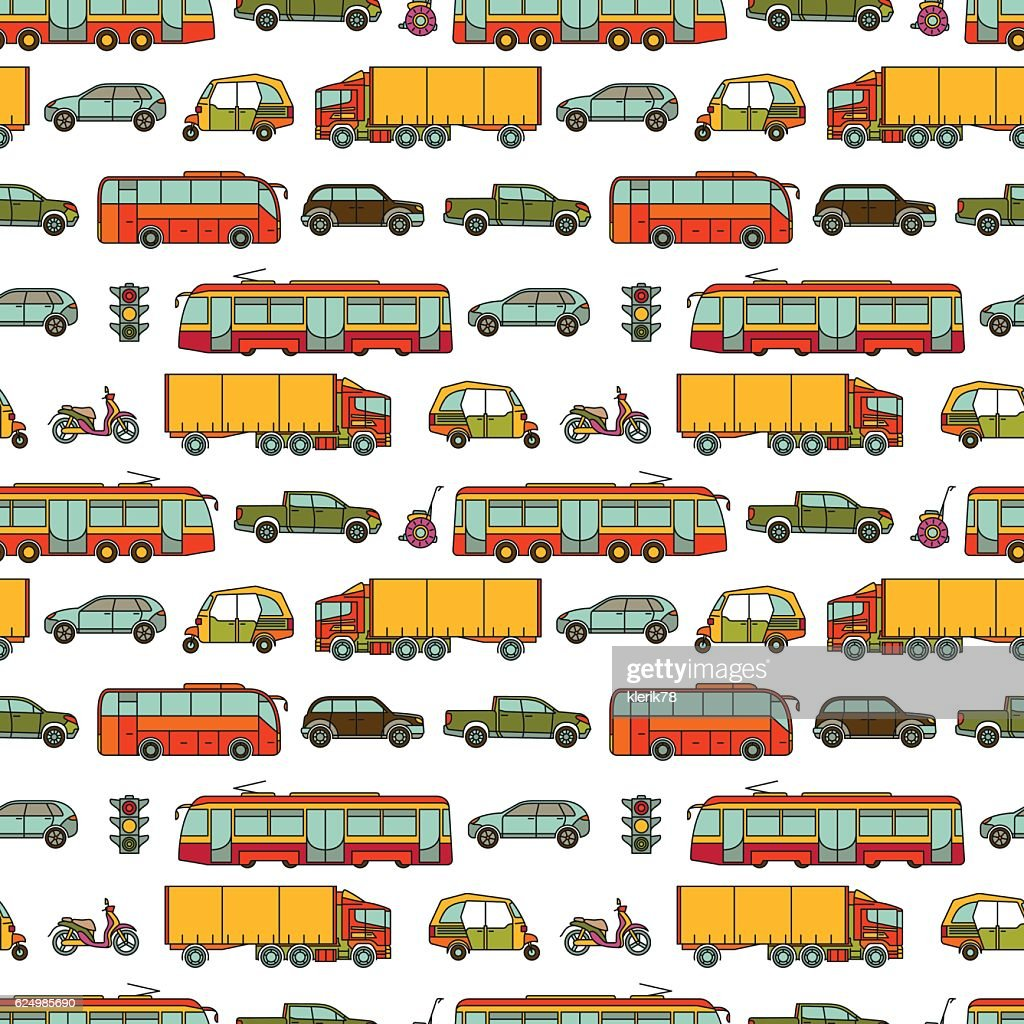 Transport seamless pattern with different vehicles