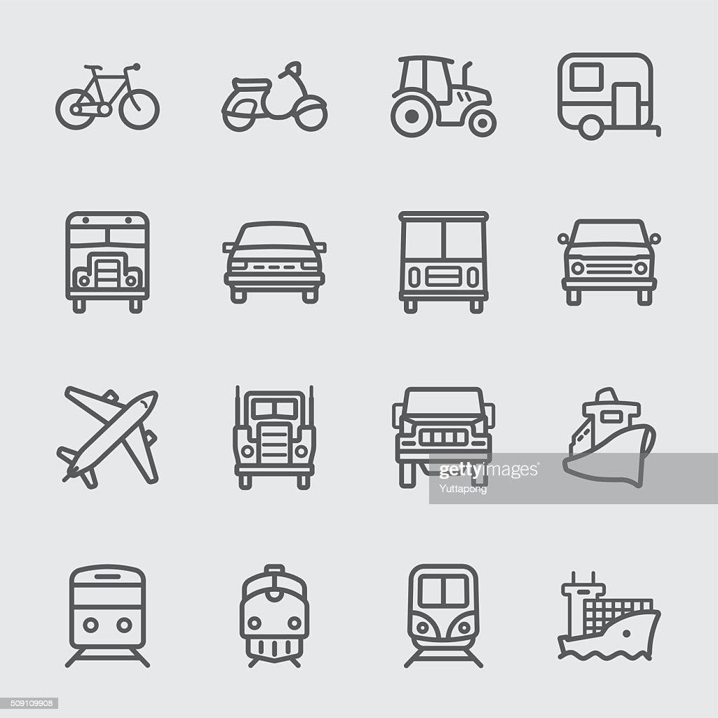 Transport set line icons