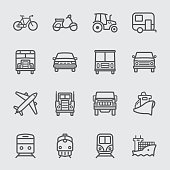Transport set line icons