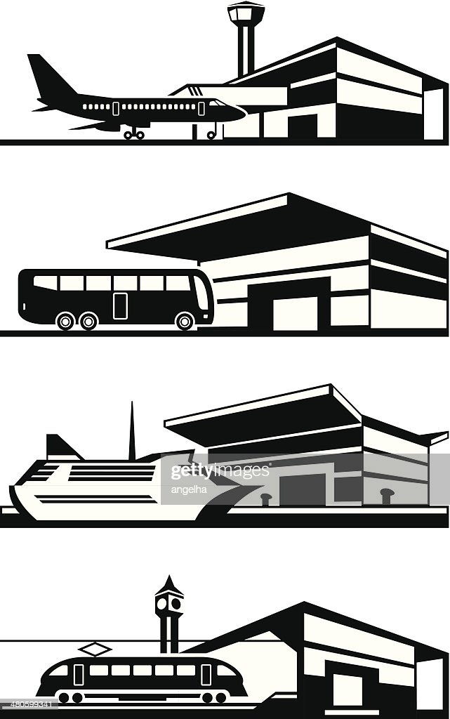 Transport stations with vehicles
