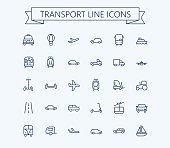 Transport vector icons set. Thin line outline 24x24 Grid.Pixel Perfect