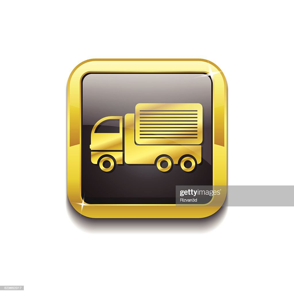 Transport Vehicle Gold Vector Icon Button