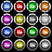 Transport white icons in round glossy buttons on black background