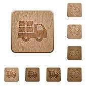Transport wooden buttons