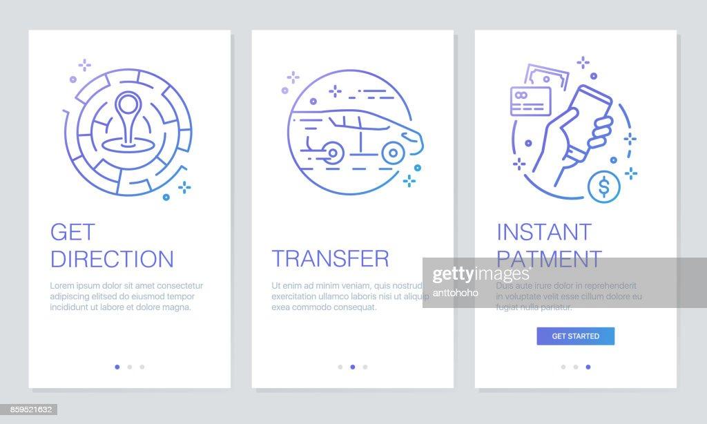 Transportation And Navigation Concept Onboarding App Screens Modern ...