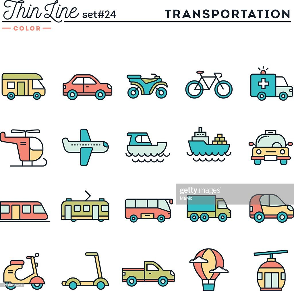 Transportation and vehicles, thin line color icons set