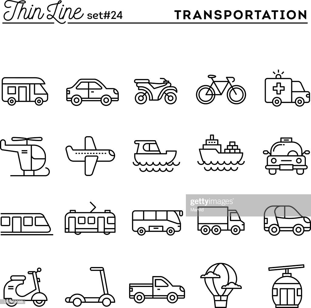 Transportation and vehicles, thin line icons set