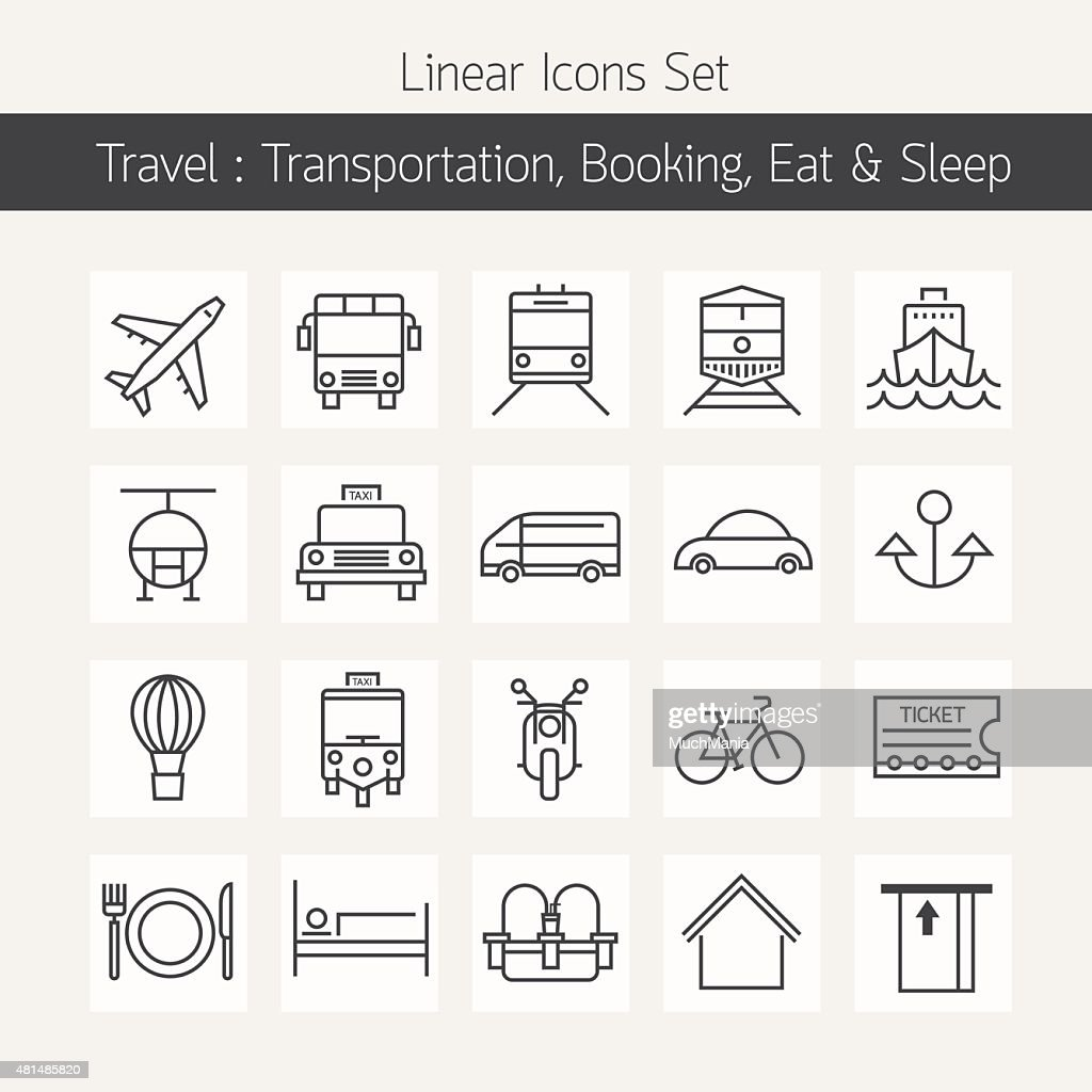 Transportation Booking  Line Icons Set