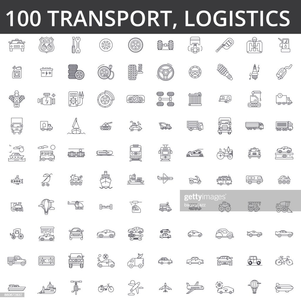 Transportation, car, logistics, vehicle, public transport, bus, tram, ship, shipping, auto service, truck line icons, signs. Illustration vector concept. Editable strokes