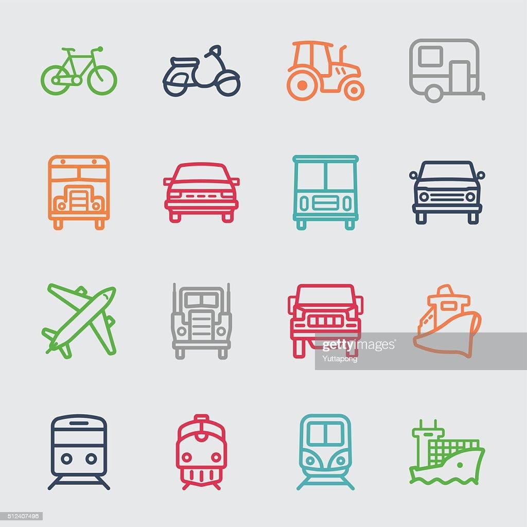 Transportation color line icon