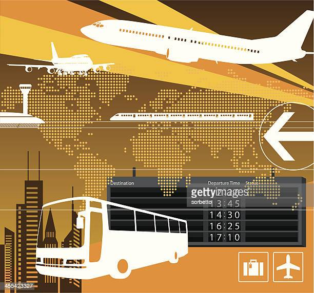 A transportation design with a bus and airplane