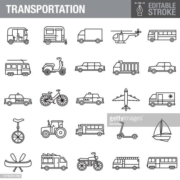 transportation editable stroke icon set - bus stock illustrations