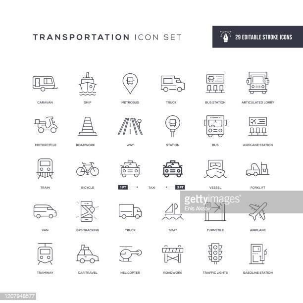 transportation editable stroke line icons - human settlement stock illustrations