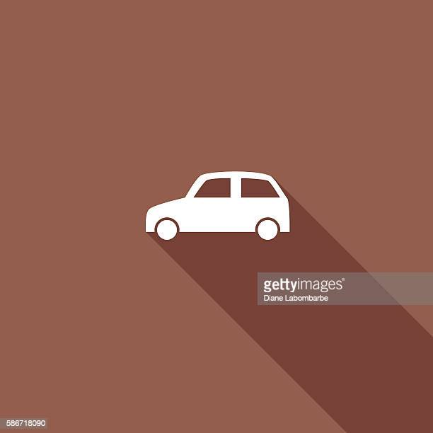 transportation flat color long shadow icons - compact car stock illustrations, clip art, cartoons, & icons