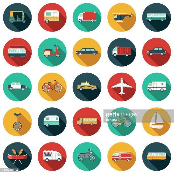transport-flaches design-icon-set - verkehrswesen stock-grafiken, -clipart, -cartoons und -symbole