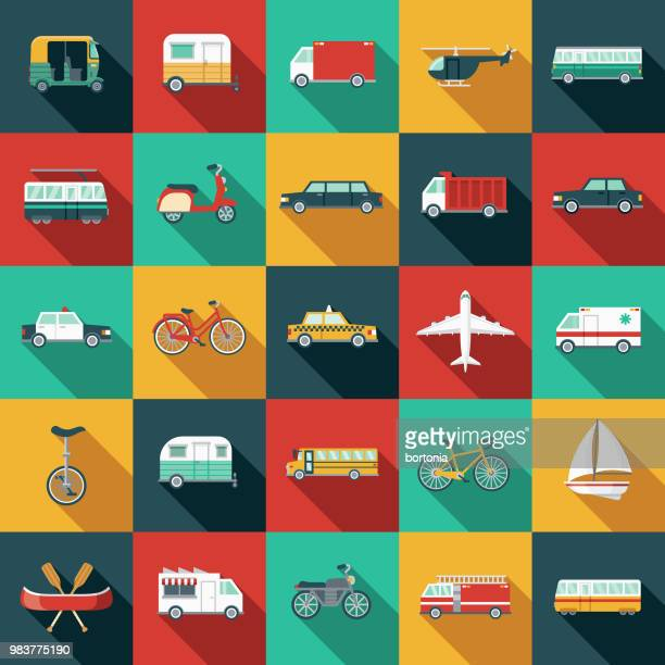 Transportation Flat Design Icon Set