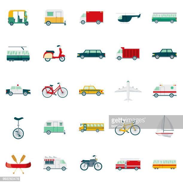 ilustraciones, imágenes clip art, dibujos animados e iconos de stock de conjunto de iconos de diseño plano de transporte - autocaravana