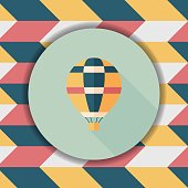 Transportation hot air ballon flat icon with long shadow,eps10