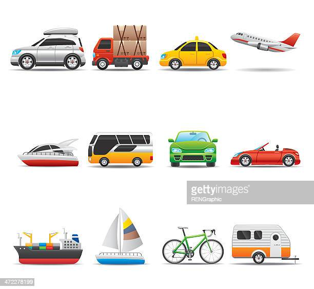 transportation icon set | elegant series - taxi stock illustrations, clip art, cartoons, & icons