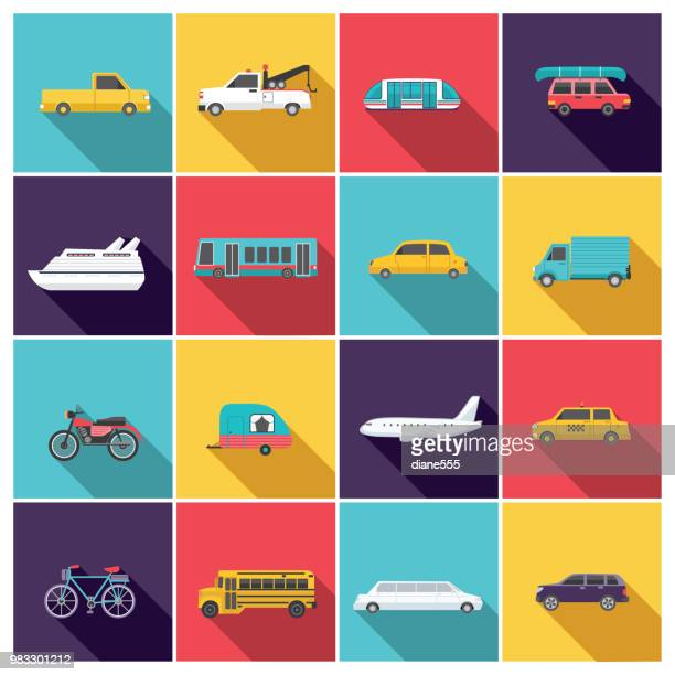 transportation icon set in flat design style - train vehicle stock illustrations