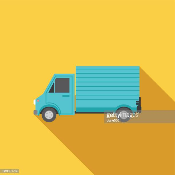 transportation icon set in flat design style - truck stock illustrations