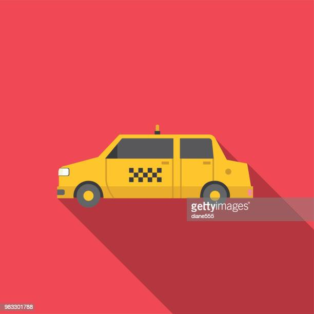 transportation icon set in flat design style - taxi stock illustrations, clip art, cartoons, & icons