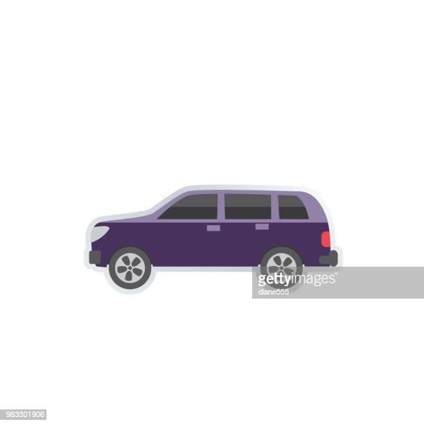 transportation icon set in flat design style - suv stock illustrations, clip art, cartoons, & icons