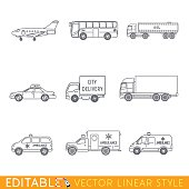 Transportation icon set include Jet Bus Oil truck Taxi City