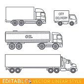 Transportation icon set include Long semi truck Road tanker City