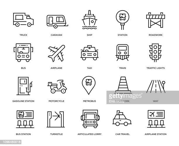 transportation icon set - aeroplane stock illustrations, clip art, cartoons, & icons