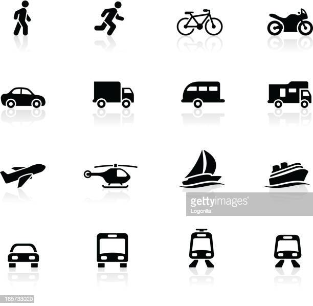 transportation icon set - pedestrian stock illustrations, clip art, cartoons, & icons