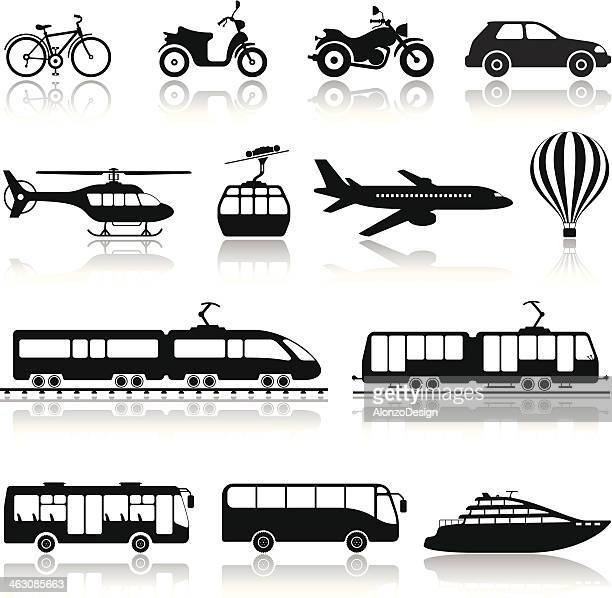 stockillustraties, clipart, cartoons en iconen met transportation icon set - tram