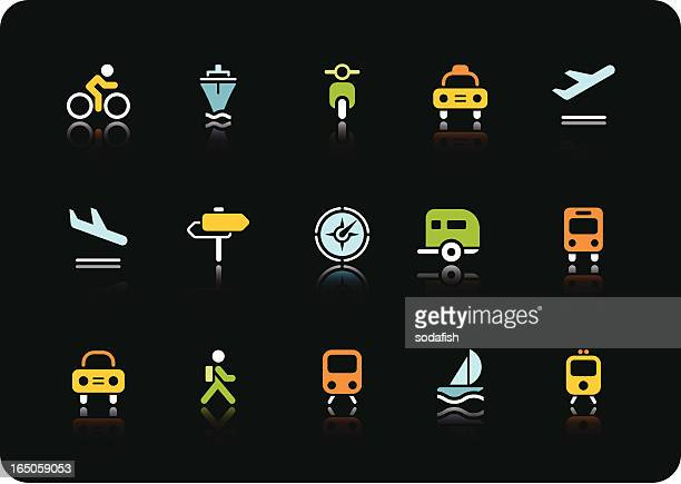 Transportation icons | color series