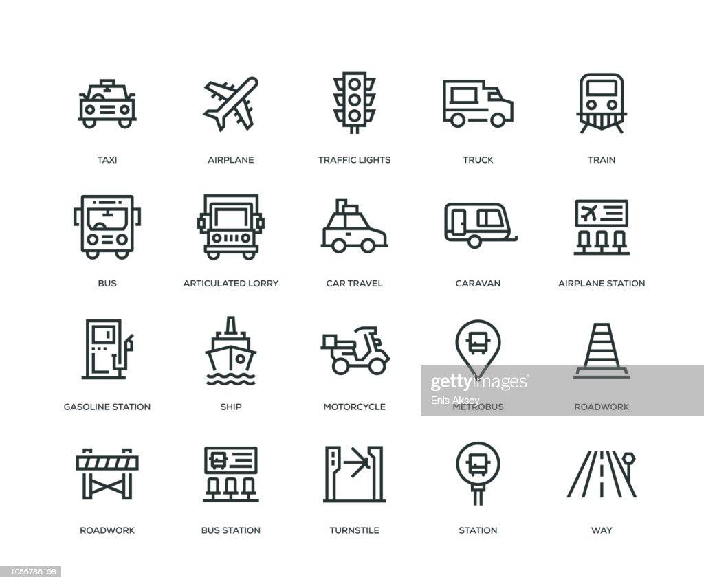 Transportation Icons - Line Series : stock illustration