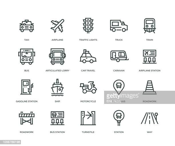 transportation icons - line series - fuel station stock illustrations, clip art, cartoons, & icons