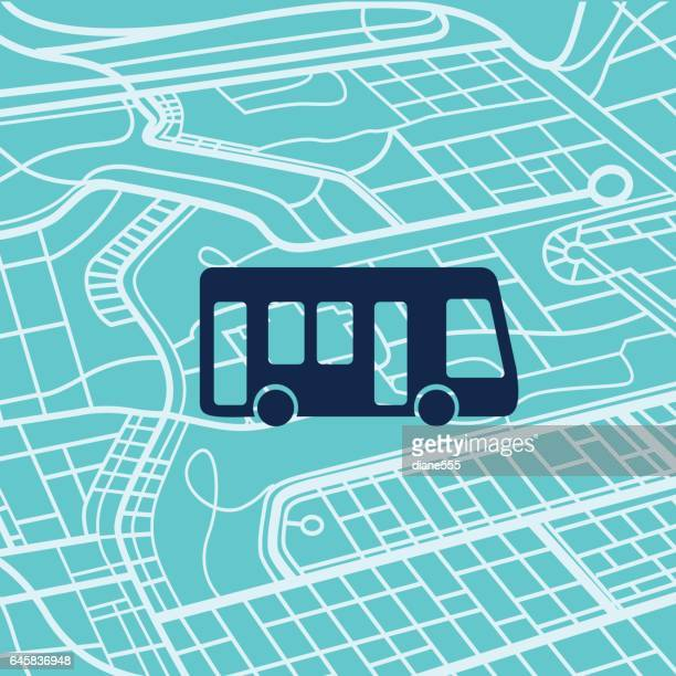 Transportation Icons ON A City Map Background