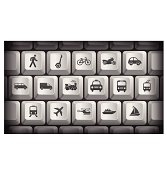 Transportation Icons on Gray Computer Keyboard Buttons