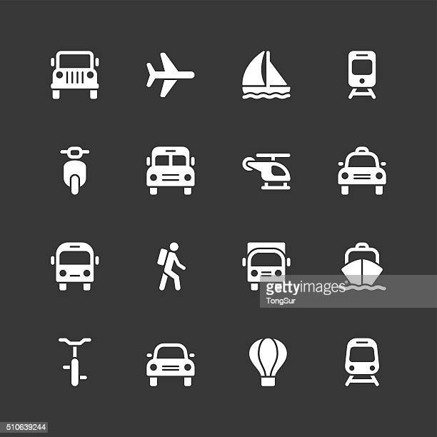 Transportation icons - Regular - White Series