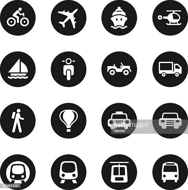 Transportation Icons Set 1 - Black Circle Series