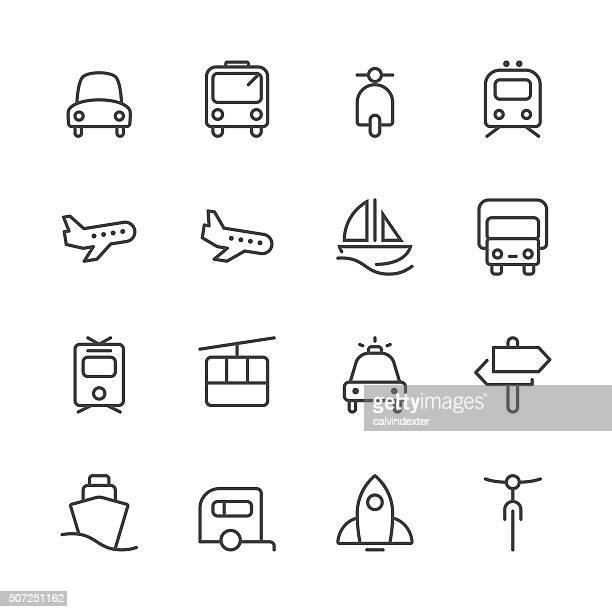 Transportation Icons set 1 | Black Line series