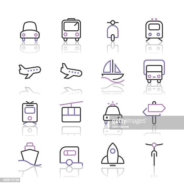 Transport Icons set 1/violette Linie series