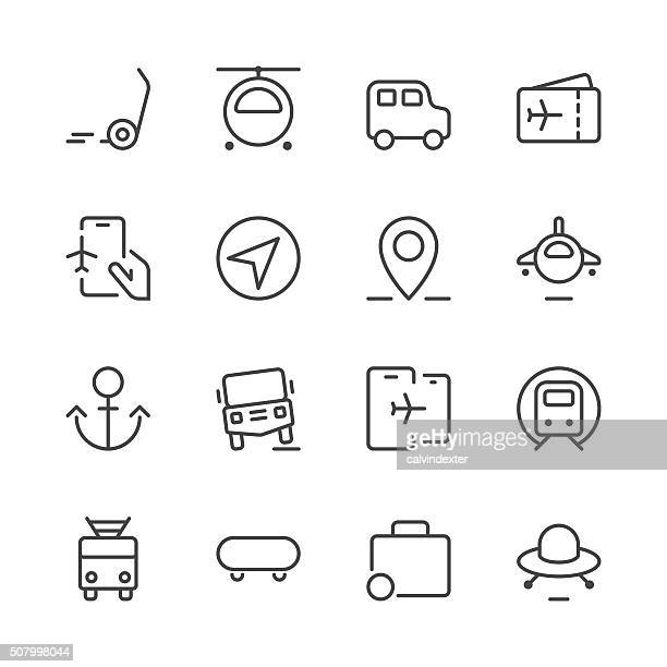 transportation icons set 2 | black line series - disembarking stock illustrations